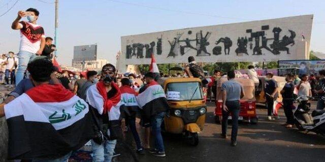درگیری میان تظاهرکنندگان عراقی با نیروهای امنیتی در بغداد