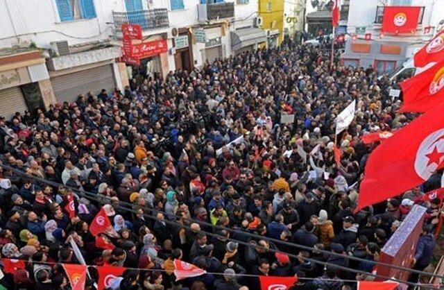 تجمع اعتراضی حزب تونسی علیه خشونت سیاسی
