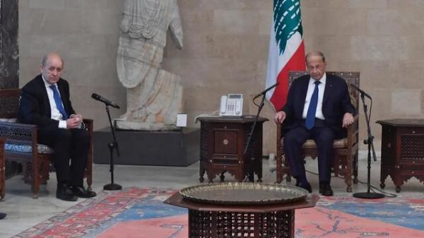 ملاقات وزیر خارجه فرانسه با رئیس جمهور لبنان